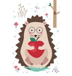 hedgehog in forest holding apple in his hands vector image