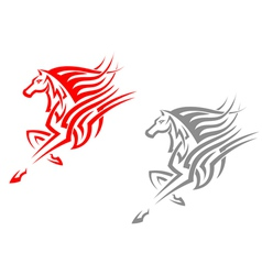 Horse mascots in tribal style vector
