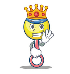 King rattle toy mascot cartoon vector