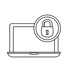 Laptop lock server banner icon vector