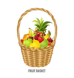 Large straw wicker basket with exotic and tropical vector