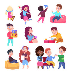 little children play toys and chat cartoon vector image