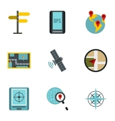 Location icons set flat style vector