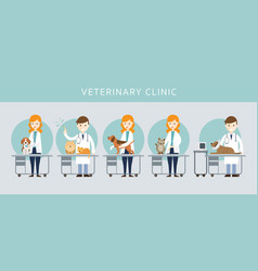 Male amp female veterinarian checkup pet vector