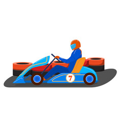 Male character driver karting transport vehicle vector