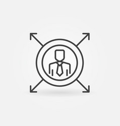 man in circle with arrows line icon linear vector image