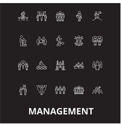 management editable line icons set on black vector image