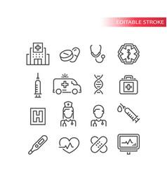 Medical or medicine line icon set vector