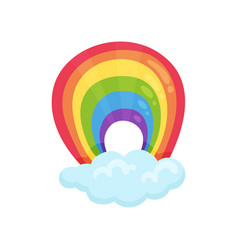 Multicolored arched rainbow and blue fluffy cloud vector