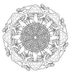 mushroom mandala vintage decorative elements vector image