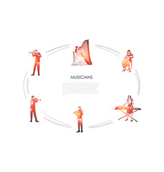 musicians - violinist harpist cellist vector image