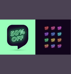 neon discount tag 50 percentage off offer sale vector image