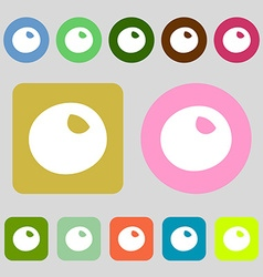 Number zero icon sign 12 colored buttons Flat vector