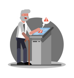 old man have troudle by using atm vector image