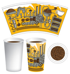Paper cup for hot drink with retro coffee machine vector