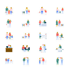 people icons collection in flat design vector image