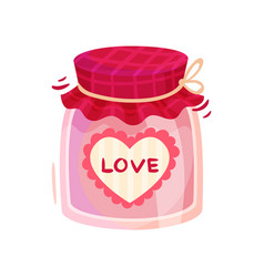 pink love jar with textile cover and heart-shaped vector image