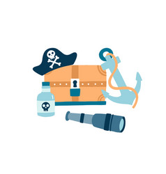 pirate items flat hat vector image