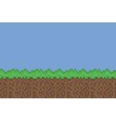 pixel art meadow green brown background vector image vector image