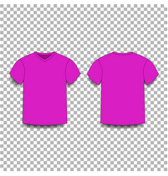 Purple men s t-shirt template v-neck front and vector