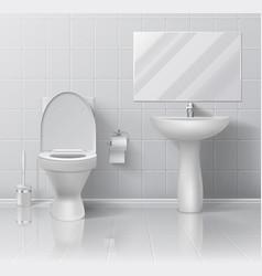 realistic toilet modern 3d bathroom interior vector image