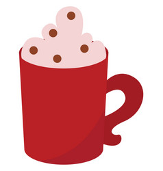 red mug with coffee on white background vector image