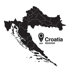 Regions of Croatia map vector