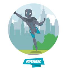 robotic superhero cartoon on city vector image