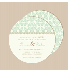 Round wedding invitation card vector
