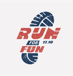 Run symbol in grunge style marathon icon poster vector