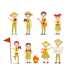 scouts flat set children vector image