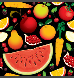 seamless pattern with various fruits and berries vector image