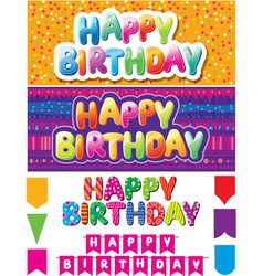 Set of colorful happy birthday texts vector image vector image