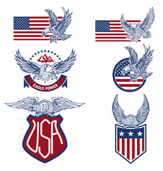 Set of the usa labels with eagles emblems with vector