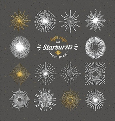 set sunbursts vintage design elements vector image