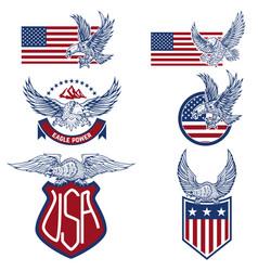 Set usa labels with eagles emblems vector
