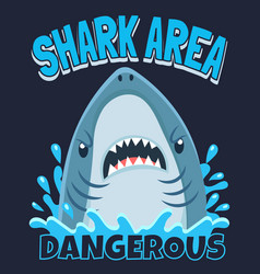 shark area poster attack sharks ocean diving and vector image