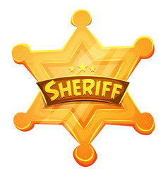 Sheriff marshal star gold medal icon vector