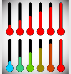 Simple thermometer graphics for temperature level vector