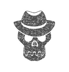 skull in the hat grunge print for t-shirt vector image