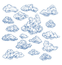 sky sketch with white clouds atmosphere heaven vector image