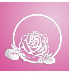 stylized pink rose is on the circle vector image