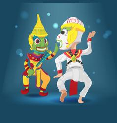 thai culture acting khon character vector image