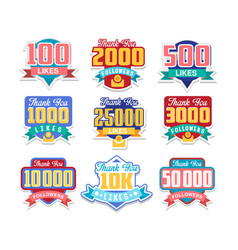 thanking followers for likes celebration for vector image