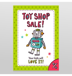 Toy shop sale flyer design with happy vintage toy vector