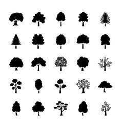 Trees glyph icons set vector