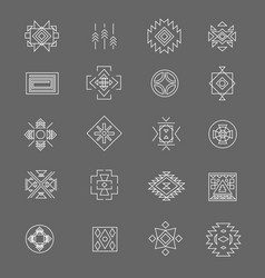 Tribal american indian linear symbols line hand vector