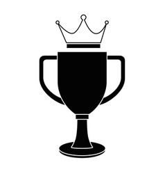 trophy cup with crown championship award vector image