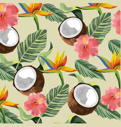 Tropical flowers with coconut and leaves vector