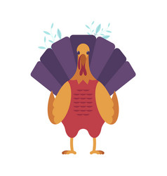 turkey bird front view icon thanksgiving vector image